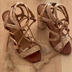 Shoes - MIA raffia/leather lace up block heels size 6